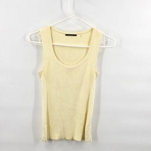 Tahari Pima Cotton Tellow Knit Tank Top S